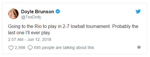 "Doyle Brunson纠正媒体对其退休的报道:""只是可能不再打WSOP赛事了"""